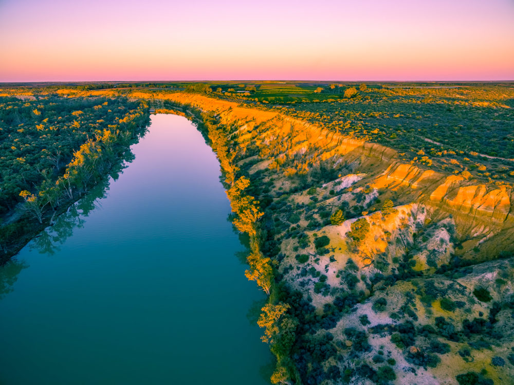 Aerial view of sandstone cliffs and Murray RIver at sunset