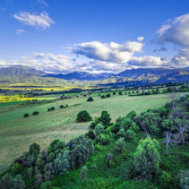 Aerial view of beautiful Australian countryside - Kiewa Valley, Victoria, Australia