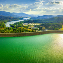 Aerial scenic panorama of Lake Eildon Dam at sunset. Melbourne, Victoria, Australia