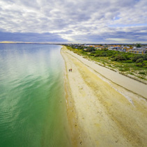 Aerial view of Port Phillip Bay coastline beach