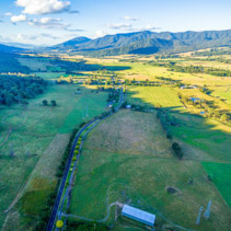 Aerial view of Kiewa Valley Highway at sunset. Victoria, Australia