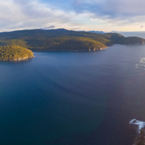 Aerial panorama of Fortescue bay, Tasmania