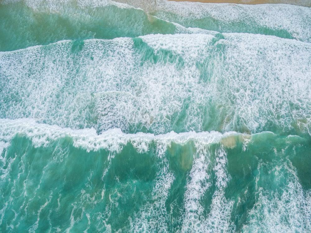 Aerial view of ocean surf