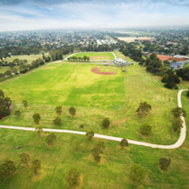 Aerial view of Baseball field at Bcentennial Park in Chelsea, Melbourne, Australia