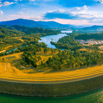Aerial panorama of Lake Eildon dam and Goulburn River. Melbourne, Victoria, Australia