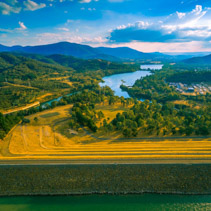 Aeril view of Eildon dam and Goulburn river at sunset