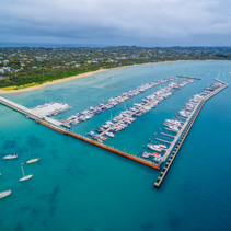 Aerial view of Blairgowrie Marina on Mornington Peninsula, Melbo