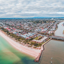Aerial panorama of luxury suburb on Port Phillip Bay coastline in Melbourne, Australia