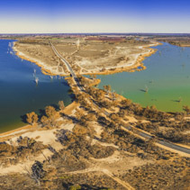 Aerial panorama of Lake Bonnie and Loch Luna in Riverland, South Australia