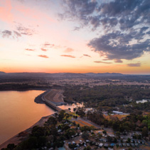 Lake Hume Dan and Murray River at twilight - aerial view