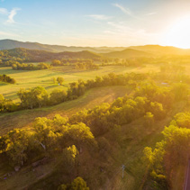 Beautiful sunset over Australian countryside - aerial landscape