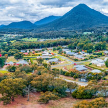 Aerial panorama of Healesville town in fall, Victoria, Australia