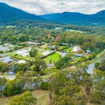 Aerial landscape of Healesville, Victoria, Australia