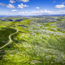 Aerial panoramic view of Mount McKay and Rocky Valley water storage. Australian Alps, Victoria, Australia