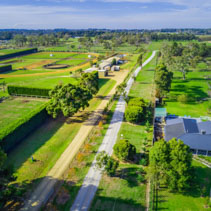 Aerial view of rural road passing through agricultural land on bright sunny day on Mornington Peninsula, Australia