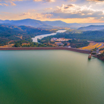 Lake Eildon at sunset - aerial landscape