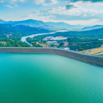 Aerial view of Lake Eildon Dam and Goulburn River. Melbourne, Australia