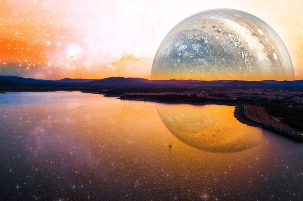 Fantasy landscape of lonely boat sailing across scenic lake on alien planet.