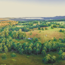 Sunset over countryside near Topi Topi, NSW, Australia - scenic aerial panorama