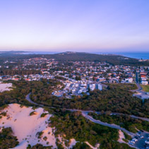 Aerial view of Anna Bay township at sunset in New South Wales, Australia