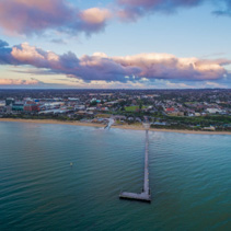 Aerial view of Frankston Pier and beach