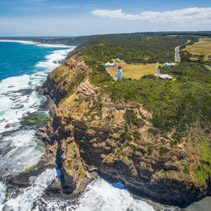 Aerial view of Cape Schanck Lighthouse and rugged cliffs, Australia