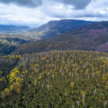 Aerial view of mountains and forest near Highland Lakes Road, Liffey, Tasmania, Australia