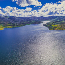 Aerial panorama of Rocky Valley water storage on bright summer day. Victoria, Australia
