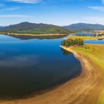 Aerial panoramic landscape of Lake Buffalo. Alpine Shire, Victoria
