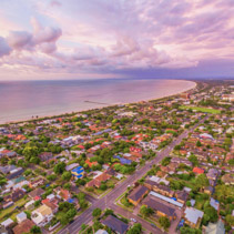 Aerial view of Frankston suburb at sunset. Mornington Peninsula, Melbourne, Australia