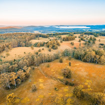 Myall Lake and surrounding rural area at sunset. Topi Topi, New South Wales, Australia