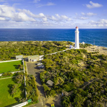Aerial view of Cape Nelson Lighthouse. Victoria, Australia