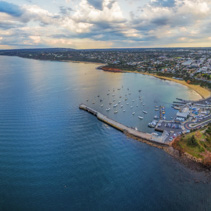 Aerial panoramic view of Mornington Pier and Peninsula coastline