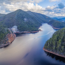 Beautiful Cethana lake aerial view. Cethana, Tasmania