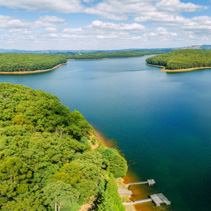 Aerial panorama of beautiful Silvan Reservoir lake and forest in Melbourne, Australia