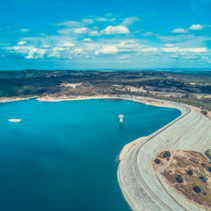 Cardinia Reservoir lake - aerial view