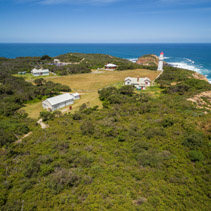 Aerial view of Cape Schanck Lighthose and museum. Mornington Peninsula, Victoria, Australia