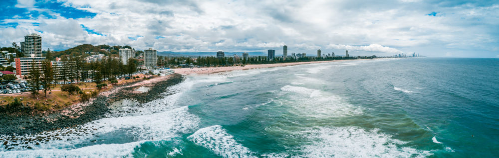 Aerial view of Gold Coast ocean coastline. Burleigh Heads, Queensland, Australia