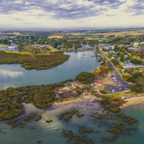 Aerial panorama of Tooradin - small coastal town in Victoria, Australia