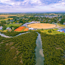 Aerial view of coastal mangroves and sports oval in Tooradin, Victoria, Australia