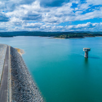 Cardinia Reservoir lake and water tower - aerial landscape