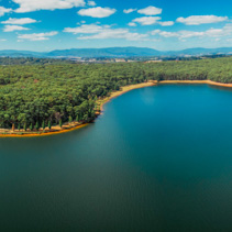 Aerial Panorama of beautiful lake and forest in Victoria, Australia