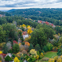 Aerial panorama of Dandenong Ranges forest in autumn. Melbourne, Victoria, Australia