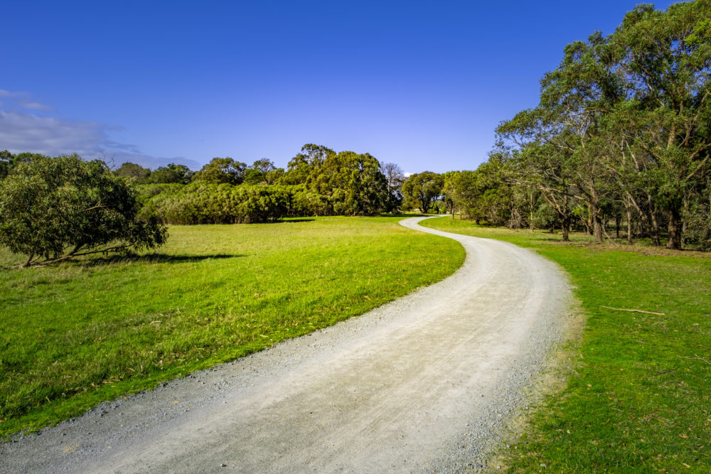 Gravel road winding among grass and trees in Cranbourne, Victoria, Australia