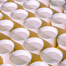 Pattern made with rows of disposable cups filled with water