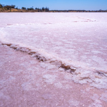 Extreme closeup of salt build-up on lake surface in Australian desert