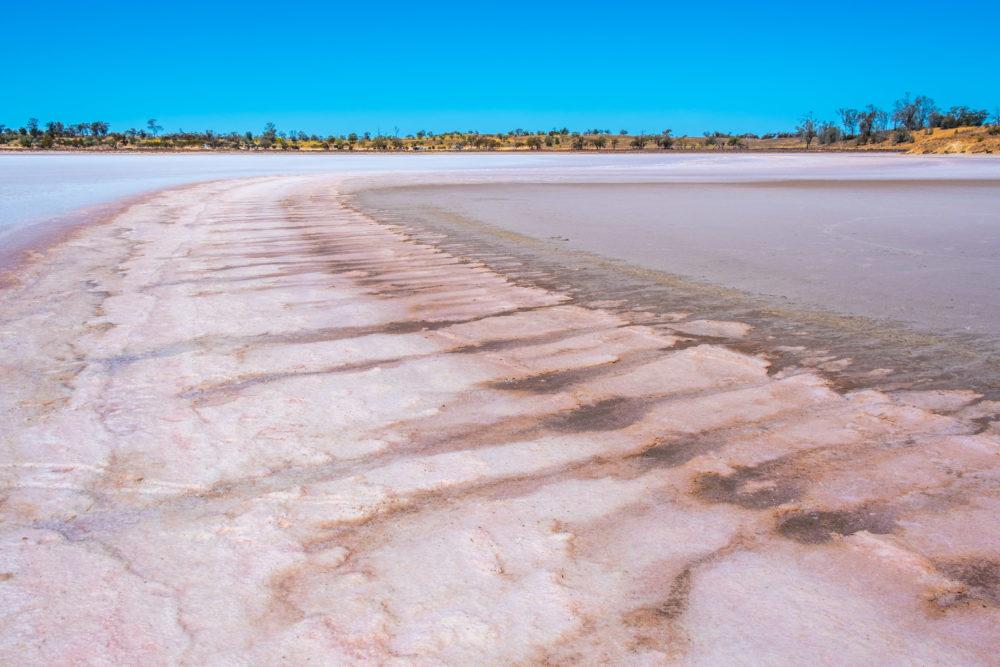 Pink salt lake in Australian Desert on bright sunny day