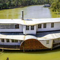 Old large paddle steamer moored near Echuca discovery centre