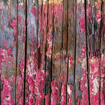 Old grungy wooden fence with peeling red paint background