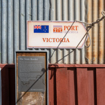 Port of Echuca and The State Border signs in the Discovery Centre